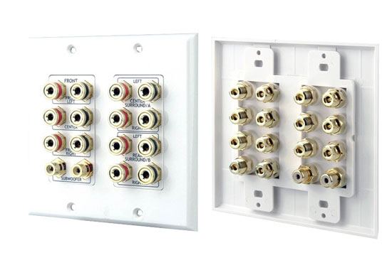 Pyle - PHIW71 , Home and Office , Wall Plates - In-Wall Control , 7.1 Home Theater Fourteen Post Binding/Banana Plug with Dual RCA Subwoofer Posts Wall Plate White (14 Posts/Polarity for 7 Speakers)