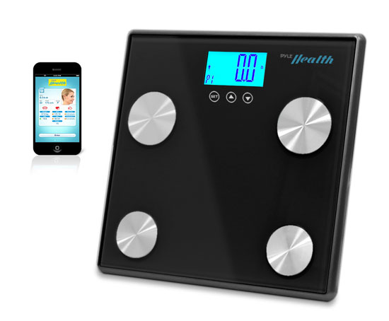 Pyle - PHLSCBT4BK , Health and Fitness , Weight Scales , Bluetooth Digital Weight and Personal Health Scale with Wireless iPhone, Android, Smartphone Data Transfer and Pyle Health App Fitness Tracker (Black)