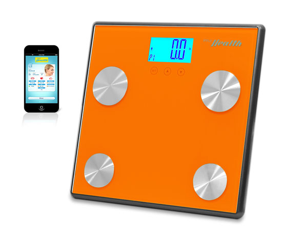 Pyle - PHLSCBT4OR , Health and Fitness , Weight Scales , Bluetooth Digital Weight and Personal Health Scale with Wireless iPhone, Android, Smartphone Data Transfer and Pyle Health App Fitness Tracker (Orange)