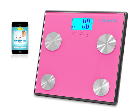 Pyle - PHLSCBT4PN , Health and Fitness , Weight Scales , Bluetooth Digital Weight and Personal Health Scale with Wireless iPhone, Android, Smartphone Data Transfer and Pyle Health App Fitness Tracker (Pink)
