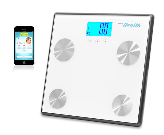 Pyle - PHLSCBT4WT , Health and Fitness , Weight Scales , Bluetooth Digital Weight and Personal Health Scale with Wireless iPhone, Android, Smartphone Data Transfer and Pyle Health App Fitness Tracker (White)