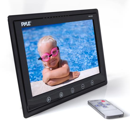 Pyle - PHR105B , On the Road , Headrest Video , 10'' LCD Hi-Res Display Monitor with Detachable Shroud Housing Bracket, RCA Connectors, Easy Touch Button Controls, Perfect for Custom Applications & Installations (Black)