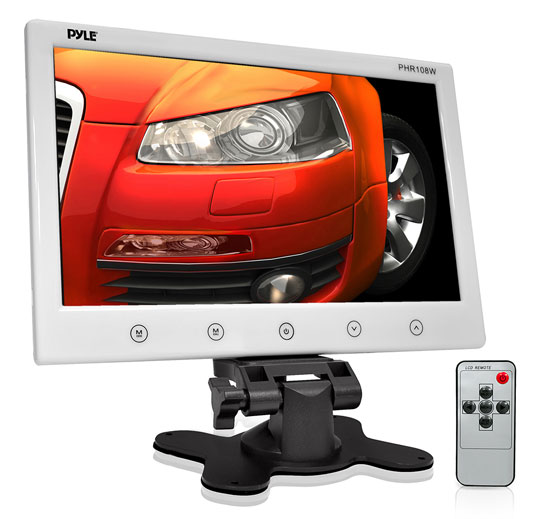 Pyle - PHR108W , On the Road , Video Monitors , 10'' Hi-Res Widescreen Digital Monitor Display Screen, Dual RCA Video Input Connectors, Detachable Shroud Mount Housing (White)