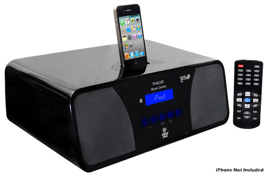 Pyle - PHSCI20B , Home and Office , Alarm Clock Radios - Plug-in Speakers , iPod/iPhone Alarm Clock Radio With High-Performance 2.1 Channel 200 Watts Speakers & Am/Fm Tuner
