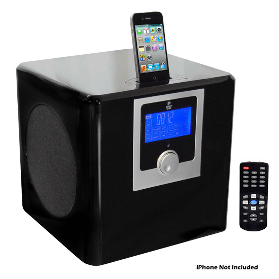 Pyle - PHSI50B , Home Audio / Video , iPod Tower Systems , 300 Watts High-Performance 2.1 Channel IPod / Iphone Home Music System With Built-In AM/FM Clock Radio