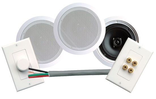 Pyle - PHSKIT6 , Sound and Recording , Speakers , 250 Watts 6-1/2''  Dual In-Ceiling Speaker /Volume Contro/Speaker Wall Plate/Wiring Combo Speaker System