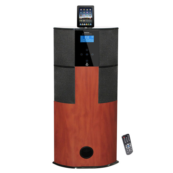 Pyle - PHST94IPCW , Home Audio / Video , iPod Tower Systems , 600 Watt Digital 2.1 Channel Home Theater Tower w/ Docking Station for iPod/iPhone/iPad (Cherry Wood Color)