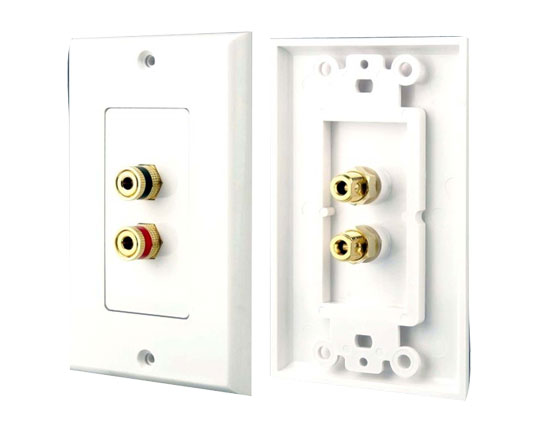 Pyle - PHWP1 , Home and Office , Wall Plates and In-Wall Control , Dual Post Binding/Banana Plug Wall Plate White (2 Posts/Polarity For 1 Speaker)