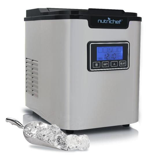Pyle - PICEM62 , Kitchen & Cooking , Ice Makers , Countertop Ice Maker - Portable Kitchen Ice Cube Machine, Stainless Steel (3 Sizes of Ice Cubes)