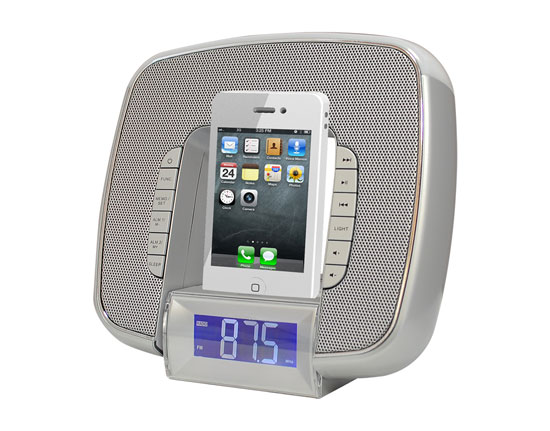 Pyle - PICL29S , Home and Office , Alarm Clock Radios - Plug-in Speakers , iPod & iPhone Docking/Aux input Clock Radio W/ FM Reciever & Dual Alarm Clock