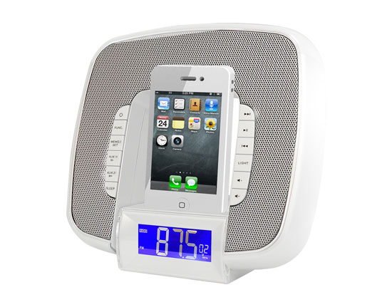 Pyle - PICL29W , Home Audio / Video , iPod Tower Systems , iPod & iPhone Docking/Aux input Clock Radio W/ FM Reciever & Dual Alarm Clock