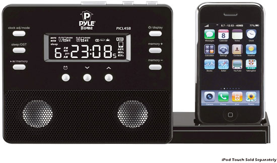 Pyle - PICL45B , Home and Office , Alarm Clock Radios - Plug-in Speakers , Enhanced iPod/iPhone Alarm Clock Speaker System W/ Am Fm Radio and Remote Control (Black)