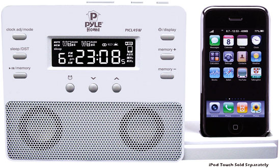 Pyle - PICL45W , Home and Office , SoundBars - Home Theater , Enhanced iPod/iPhone Alarm Clock Speaker System W/ Am Fm Radio and Remote Control (White)