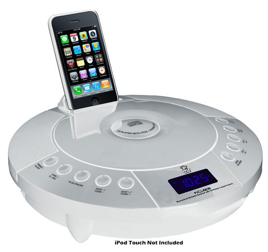 Pyle - PICL48W , Home Audio / Video , iPod Docking Systems , IPhone/IPod FM Radio Receiver with CD Player & Alarm Clock