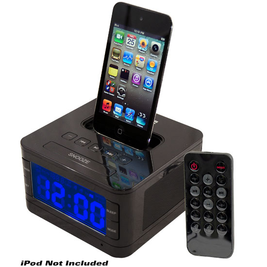 Pyle - PICL52B , Sports and Outdoors , Portable Speakers - Boom Boxes , Radio Alarm Clock Speaker SystemFor iPod (Black Color)