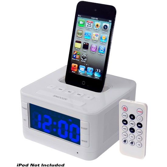 Pyle - PICL52W , Home and Office , SoundBars - Home Theater , Radio Alarm Clock Speaker System For iPod (White Color)