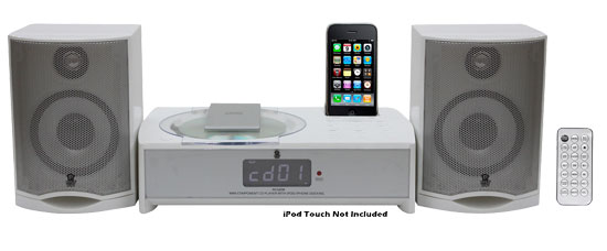 Pyle - PICL82W , Home Audio / Video , iPod Tower Systems , IPhone/IPod FM Radio Micro Receiver with CD Player & Alarm Clock (WHITE COLOR)