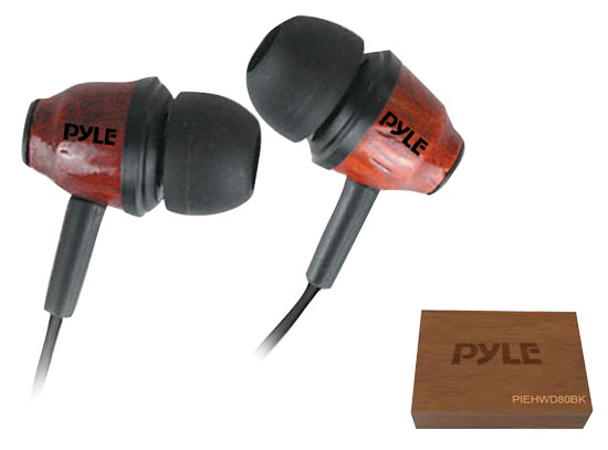 Pyle - PIEHWD80DK , Gadgets and Handheld , Headphones - MP3 Players , Sound and Recording , Headphones - MP3 Players , Wood-Bud Wooden In-Ear Ear-Buds Stereo Ultra Bass Headphones (Dark Mahogany)