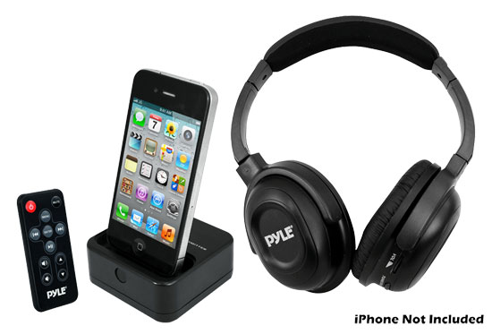 Pyle - PIH30R , Home Audio / Video , iPod Tower Systems , UHF Wireless Stereo Headphone with Wireless iPhone/iPod Dock Transmitter and RF  Remote Control