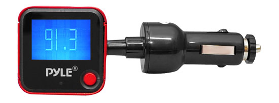 Pyle - PIMPTR5R , On the Road , Plug-in Audio Accessories - Adapters , Plug In Car Gooseneck Mount FM Transmitter With Built-in SD/USB/MP3 (Red Color)