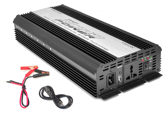 Pyle - PINV1500 , Car Audio , Power Inverter , Plug in Car 1,500 Watt 12v DC to 115 Volt AC Power Inverter w/ Modified Sine Wave & 5 Volt USB Outlet