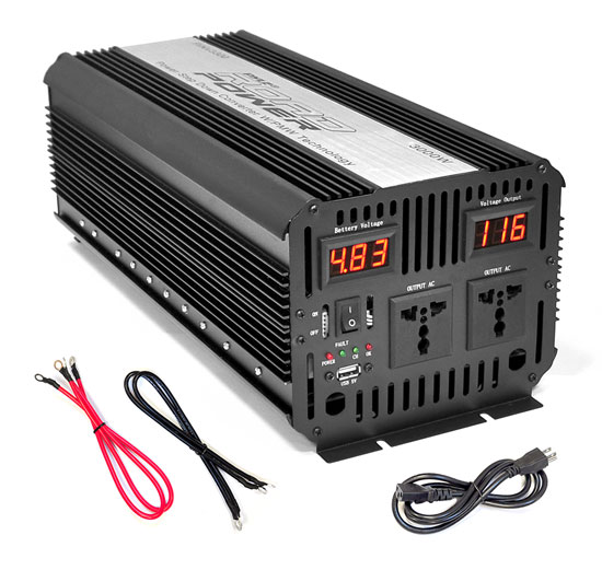 Pyle - PINV3300 , Home and Office , Power Supply - Converters , On the Road , Power Supply - Converters , Plug in Car 3,000 Watt 12v DC to 115 Volt AC Power Inverter w/ Modified Sine Wave & 5 Volt USB Outlet