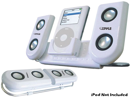 Pyle - PIP10 , Home and Office , Alarm Clock Radios - Plug-in Speakers , Portable Speaker System For Ipod & Any Other MP3 Player