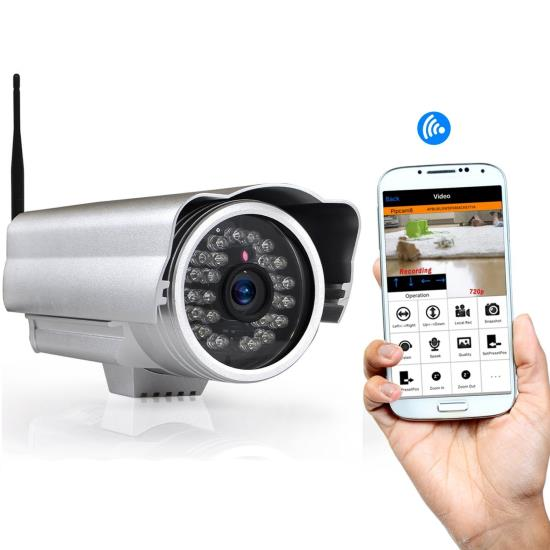 Pyle - PIPCAM15 , Home and Office , Cameras - Videocameras , Weatherproof IP Camera Surveillance Security Monitor with Wi-Fi, P2P Network, Image Capture, Video Recording, Built-in Web Server, Software Included, Downloadable App