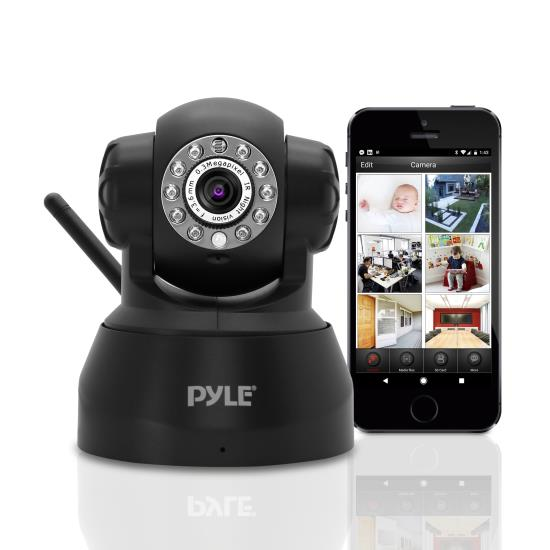 Pyle - PIPCAM5 , Home and Office , Cameras , IP Camera Surveillance Security Monitor with Wi-Fi, P2P Network, Image Capture, Video Recording, Built-in Web Server, Software Included, Downloadable App