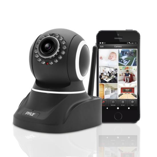 Pyle - PIPCAM8 , Home and Office , Cameras - Videocameras , IP Camera Surveillance Security Monitor with Wi-Fi, H.264 Video, P2P Network, Image Capture, Video Recording, Built-in Microphone and Speaker for 2-Way Communication, Built-in Web Server, Software Included, Downloadable App