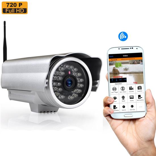 Pyle - PIPCAMHD17 , Home and Office , Cameras - Videocameras , Weatherproof Outdoor IP Cam / WiFi Security Camera, HD 720p with Remote Surveillance Monitoring, App Download