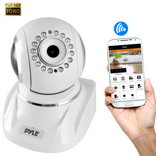 Pyle - PIPCAMHD82WT , Home and Office , Cameras - Videocameras , IP Cam / WiFi Security Camera, Full HD 1080p with Remote Surveillance Monitoring, Pan/Tilt Controls, App Download (White)