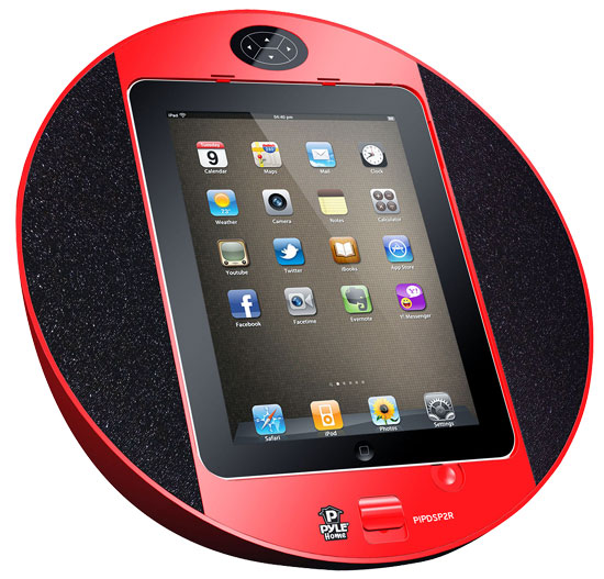 Pyle - PIPDSP2R , Home Audio / Video , i-Pod - iPad & MP3 Accessories , iPod/iPhone iPad Touch Screen Dock with Built-In FM Radio/Alarm Clock (Red)