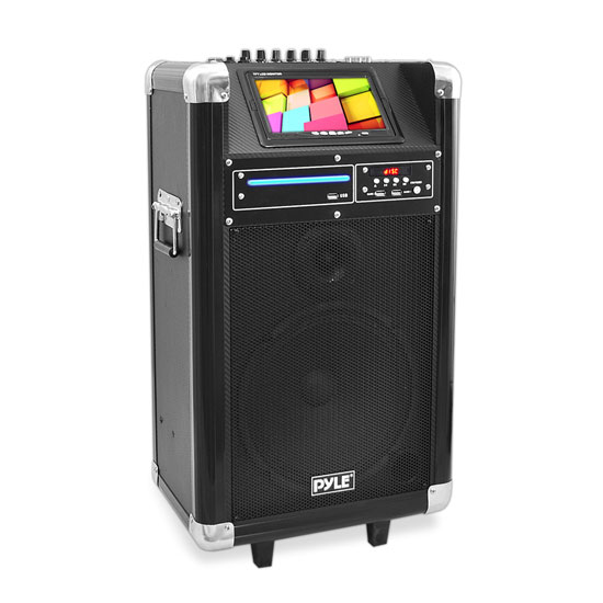Pyle - PKRK10 , DJ Equipment , Wireless PA Systems , Karaoke Vibe Bluetooth Multimedia PA System with 10'' Woofer, 7'' Screen, Multimedia Disc Player, VHF Wireless Microphone, 400 Watt