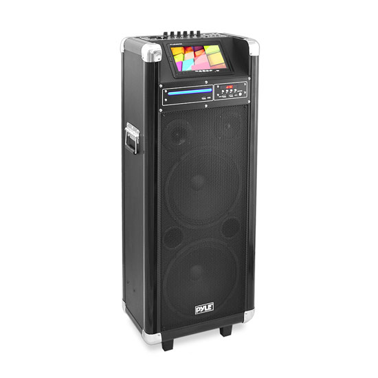 Pyle - PKRK210 , DJ Equipment , Wireless PA Systems , Karaoke Vibe Bluetooth Multimedia PA System with 10'' Woofer, 7'' Screen, Multimedia Disc Player, VHF Wireless Microphone, 1000 Watt