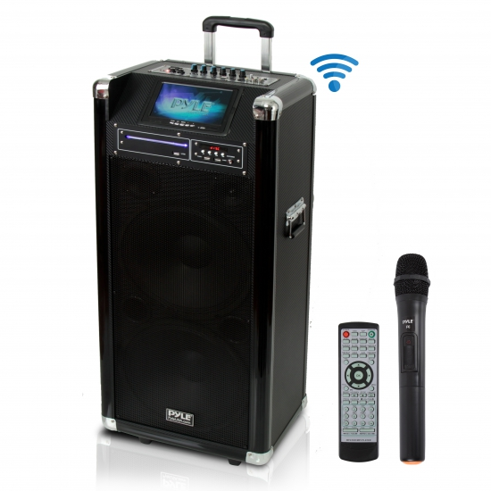 Pyle - PKRK212 , DJ Equipment , Wireless PA Systems , Karaoke Vibe Bluetooth Multimedia PA System with Dual 12'' Woofers, Dual 3'' Tweeters, 7'' Screen, Multimedia Disc Player, VHF Wireless Microphone, 1000 Watt