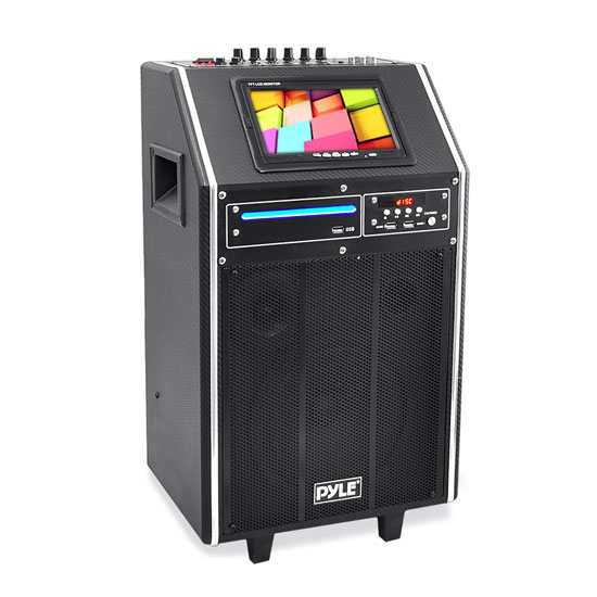 Pyle - PKRK8 , DJ Equipment , Wireless PA Systems , Karaoke Vibe Bluetooth Multimedia PA System with 8'' Woofer, 3'' Tweeter, 7'' Screen, Multimedia Disc Player, VHF Wireless Microphone, 300 Watt