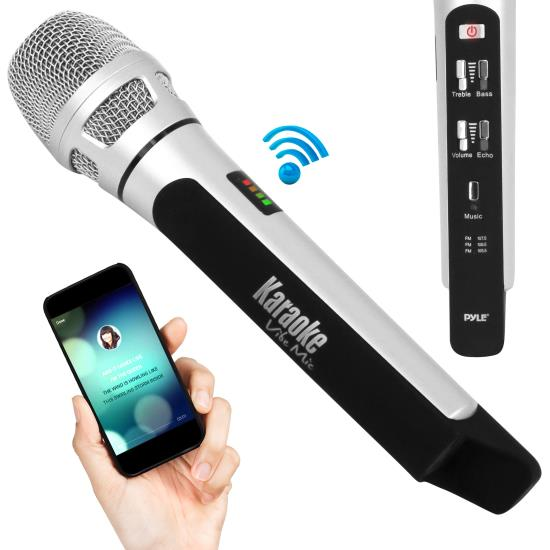 Pyle - AZPKRK9CR , Musical Instruments , Microphones - Headsets , Sound and Recording , Microphones - Headsets , Bluetooth Karaoke Microphone Speaker System with Wireless FM Radio Station Broadcasting