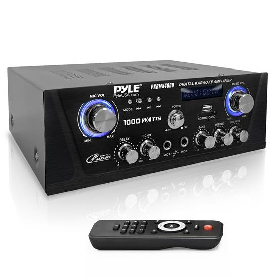 Pyle - PKRMX4000 , Sound and Recording , Amplifiers - Receivers , Digital Karaoke Amplifier - Bluetooth Amp with USB/SD/Optical and Coaxial Inputs, LED Display, Multimedia Disc Input/REC/PRE/Speaker Outputs (L/R), 600 Watts