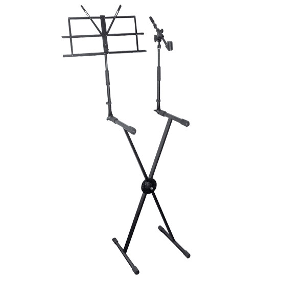 Pyle - PKS30 , Musical Instruments , Mounts - Stands - Holders , Sound and Recording , Mounts - Stands - Holders , Digital Electronic Keyboard Piano DJ Table Stand Mount Holder with Music Note & Microphone Holder, Height Adjustable