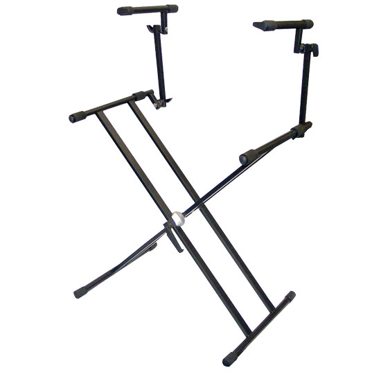 Pyle - PKS60 , DJ Equipment , Stands , Two Tier Double X Braced Heavy-Duty DJ Coffin / Keyboard Stand