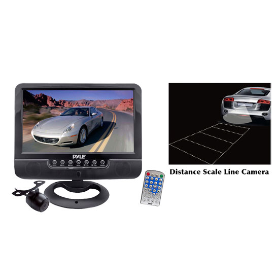 Pyle - PKTCAM2 , On the Road , Backup Rearview Parking Cameras , 9'' Battery Powered TFT/LCD Monitor with MP3/MP4/USB/SD/MMC Card Player withUniversal Mount Optional Rear View Backup Color CMD Distance Scale Line Camera