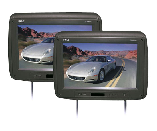 Pyle - PL102PHRG , On the Road , Headrest Video , Pair of Adjustable Headrests w/ Built-In 10.2'' TFT Monitor & IR Transmitter (Black Color)
