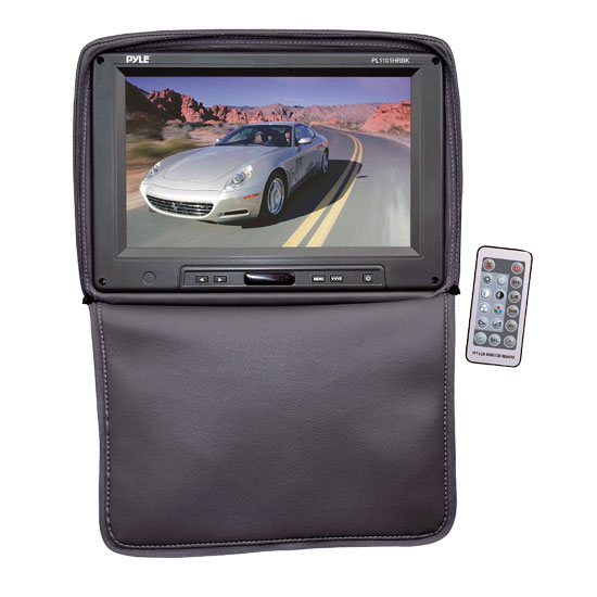 Pyle - PL1101HRBK , Mobile Video / Navigations , Headrest Monitors , Adjustable Headrest w/ Built-In 11'' TFT/LCD Monitor W/IR Transmitter & Cover (Black)