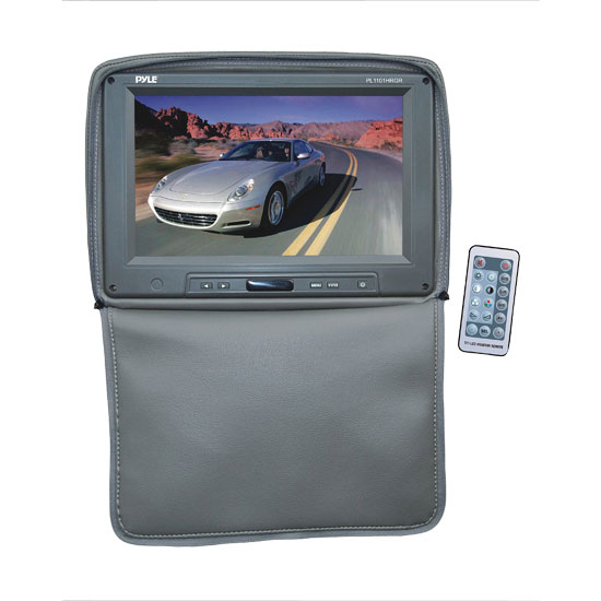 Pyle - PL1101HRGR , On the Road , Headrest Video , Adjustable Headrest w/ Built-In 11'' TFT/LCD Monitor W/IR Transmitter & Cover (Gray)