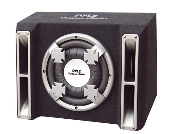 Pyle - PL110SS , Car Audio , Subwoofer Enclosures , Bandpass Systems , Single 10'' Slim Designed Subwoofer Bass Box Enclosure System