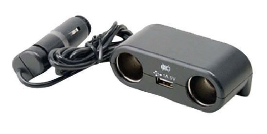 Pyle - PL12V2US , On the Road , Power Supply - Converters , Plug In Car 1 TO 2 Cigarette Lighter Multiplier With USB Charger