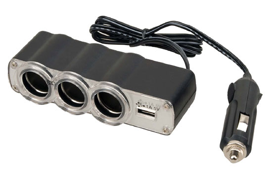 Pyle - PL12V3US , Car Audio , Power Inverter , Plug In Car 1 TO 3 Cigarette Lighter Multiplier With USB Charger