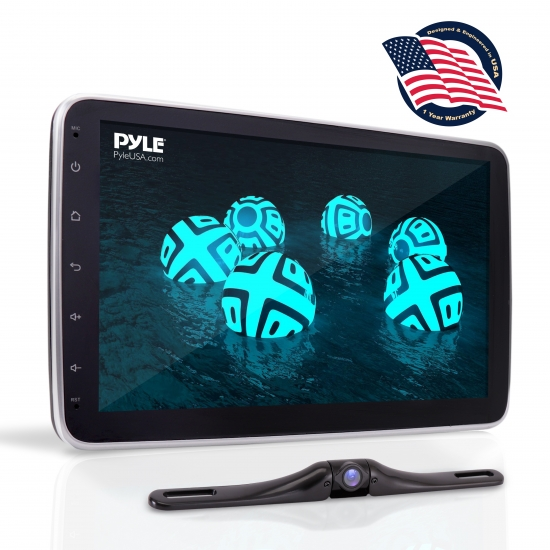 Pyle - PL1SN104 , On the Road , Headunits - Stereo Receivers , 10.1'' Touch Screen TFT/LCD Monitor - Single Din MP5 Player With Swivel Screen, Phone Link, With Backup Camera