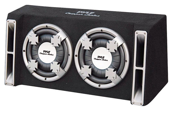 Pyle - PL210DS , Car Audio , Subwoofer Enclosures , Bandpass Systems , Dual 10'' Slim Designed Bass Box Speaker System